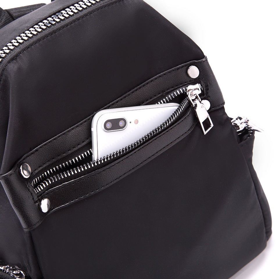 Studded nylon backpack in Black
