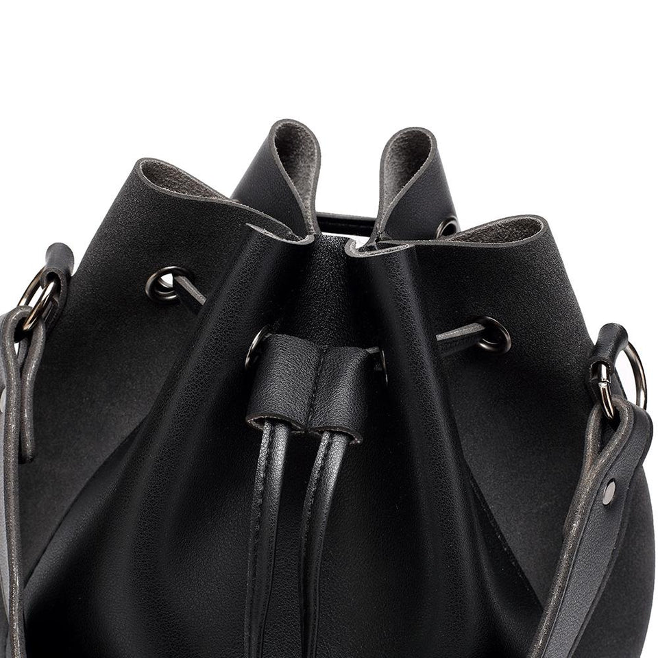 Faux suede leather bucket bag in Wine red