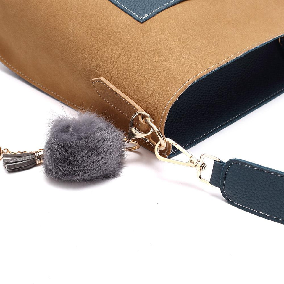 Pompom charm colourblock faux leather 2-in-1 bag in Black