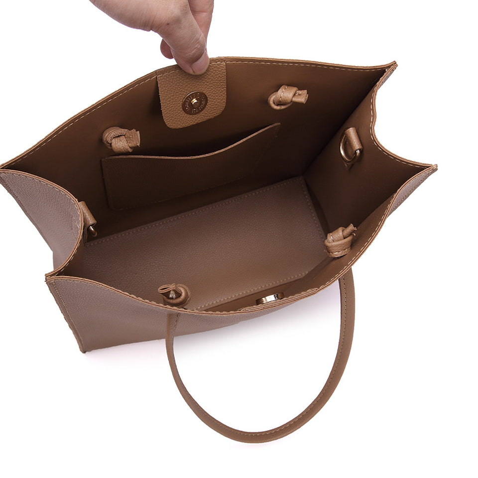 2-in-1 faux leather shopper bag in Brown