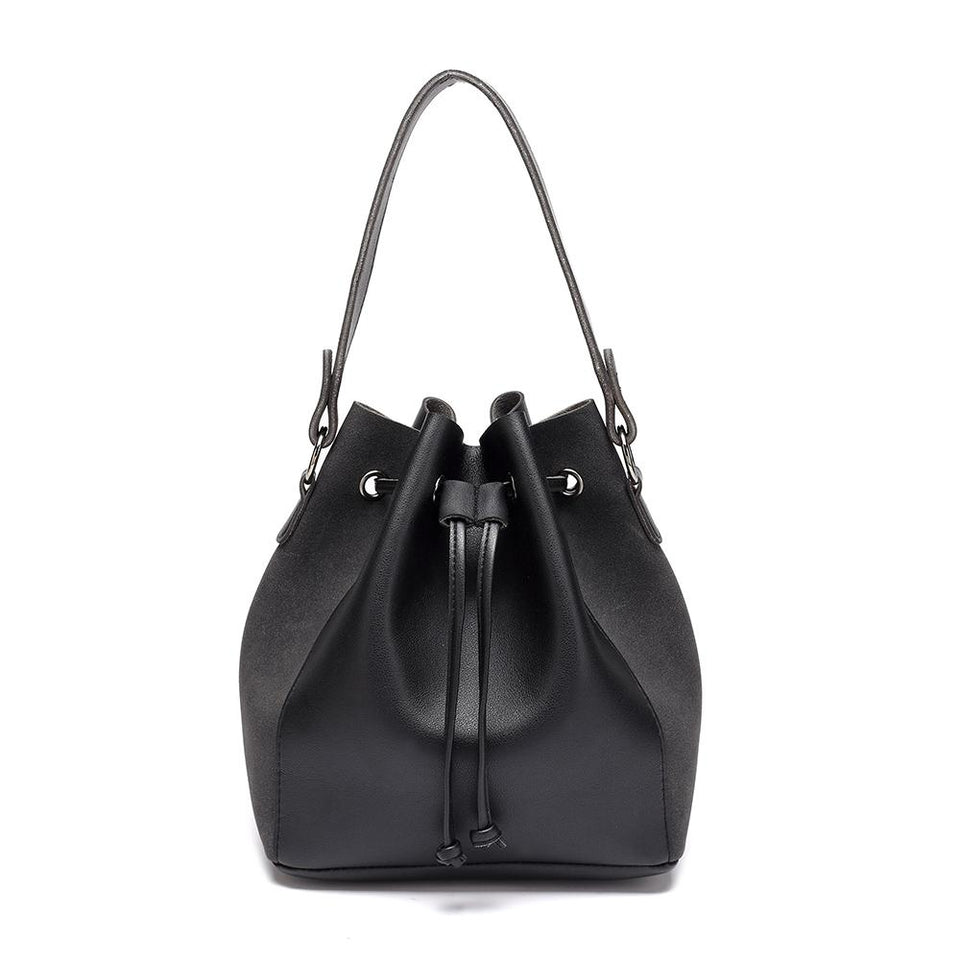 Faux suede leather bucket bag in Black