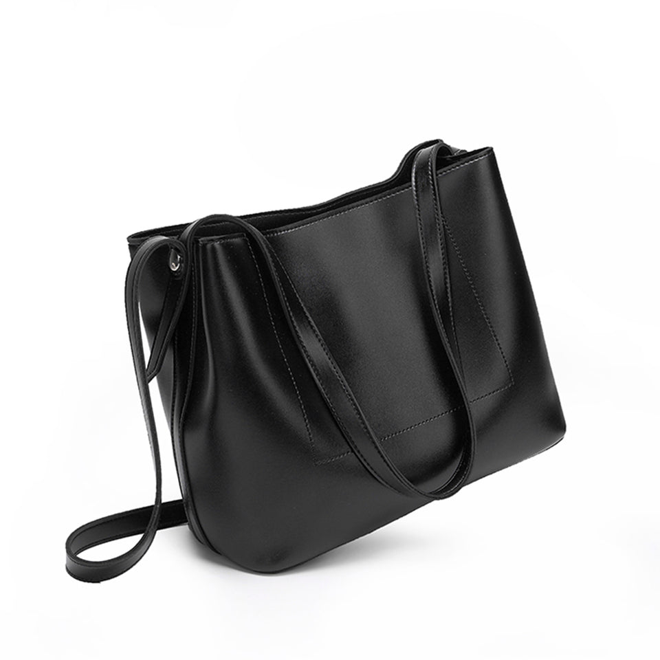 Sloughy faux leather crossbody bag in Black