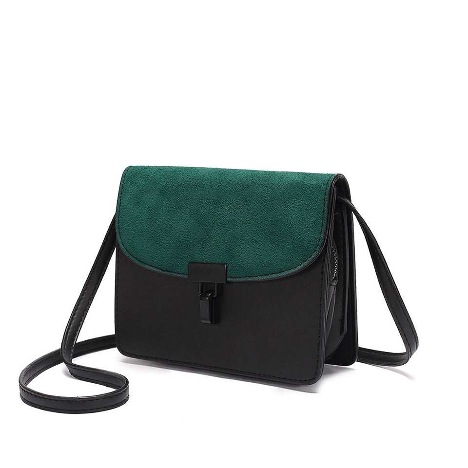 Colourblock faux suede leather crossbody bag in Green