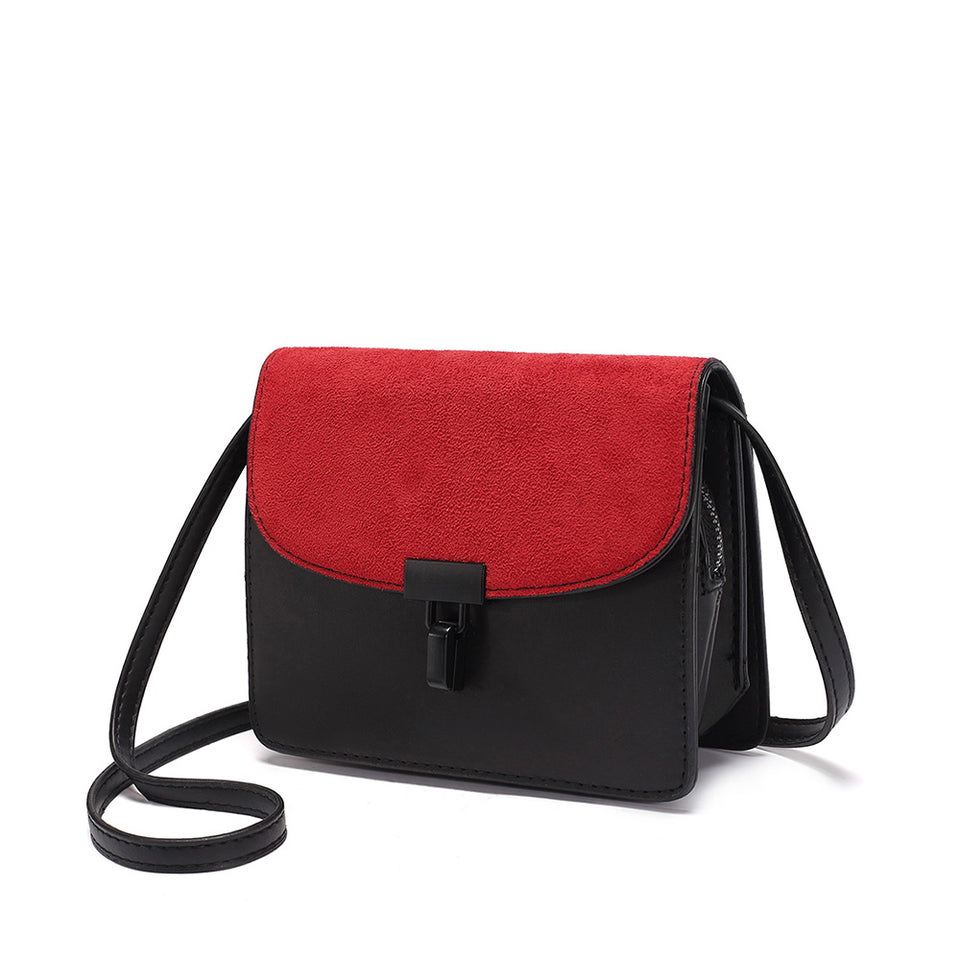 Colourblock faux suede leather crossbody bag in Red