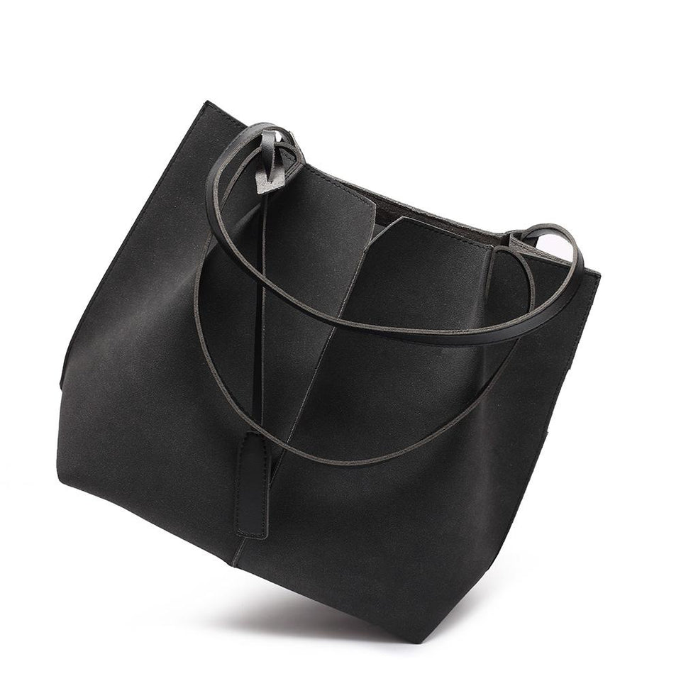 Centre stitch faux suede 2-in-1 bag in Black