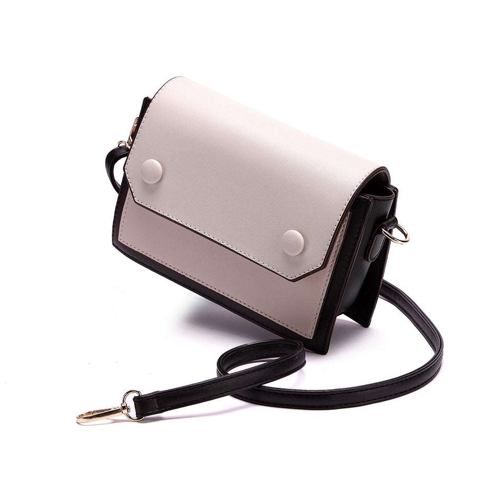 Colourblock boxy crossbody bag in Black