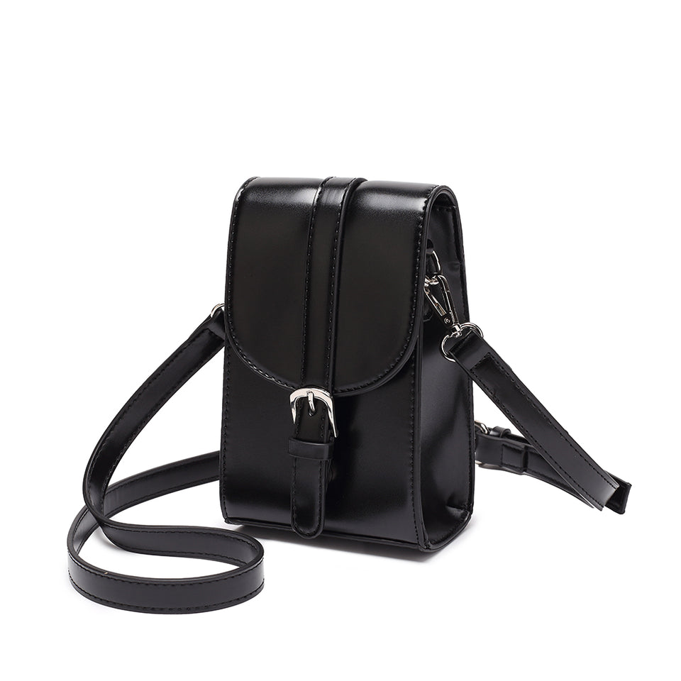 Mini faux leather crossbody bag in Black