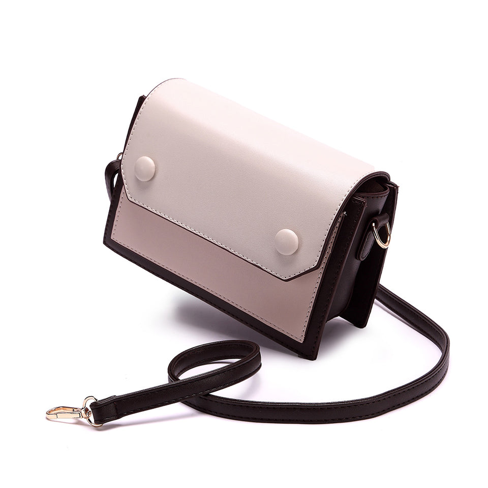 Colourblock boxy crossbody bag in Brown
