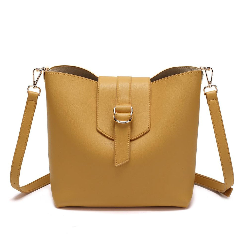 Belted flapover faux leather 2-in-1 bag in Mustard yellow
