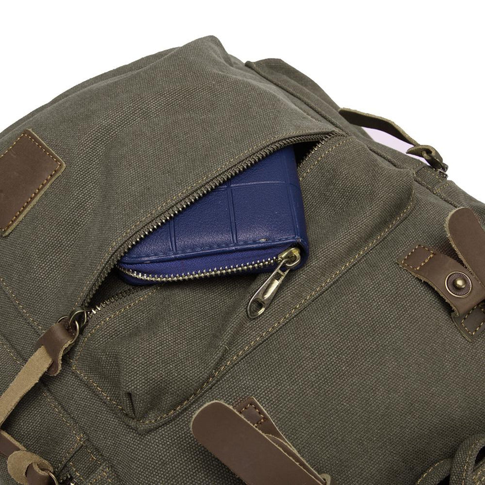 Canvas satchel backpack in Army green