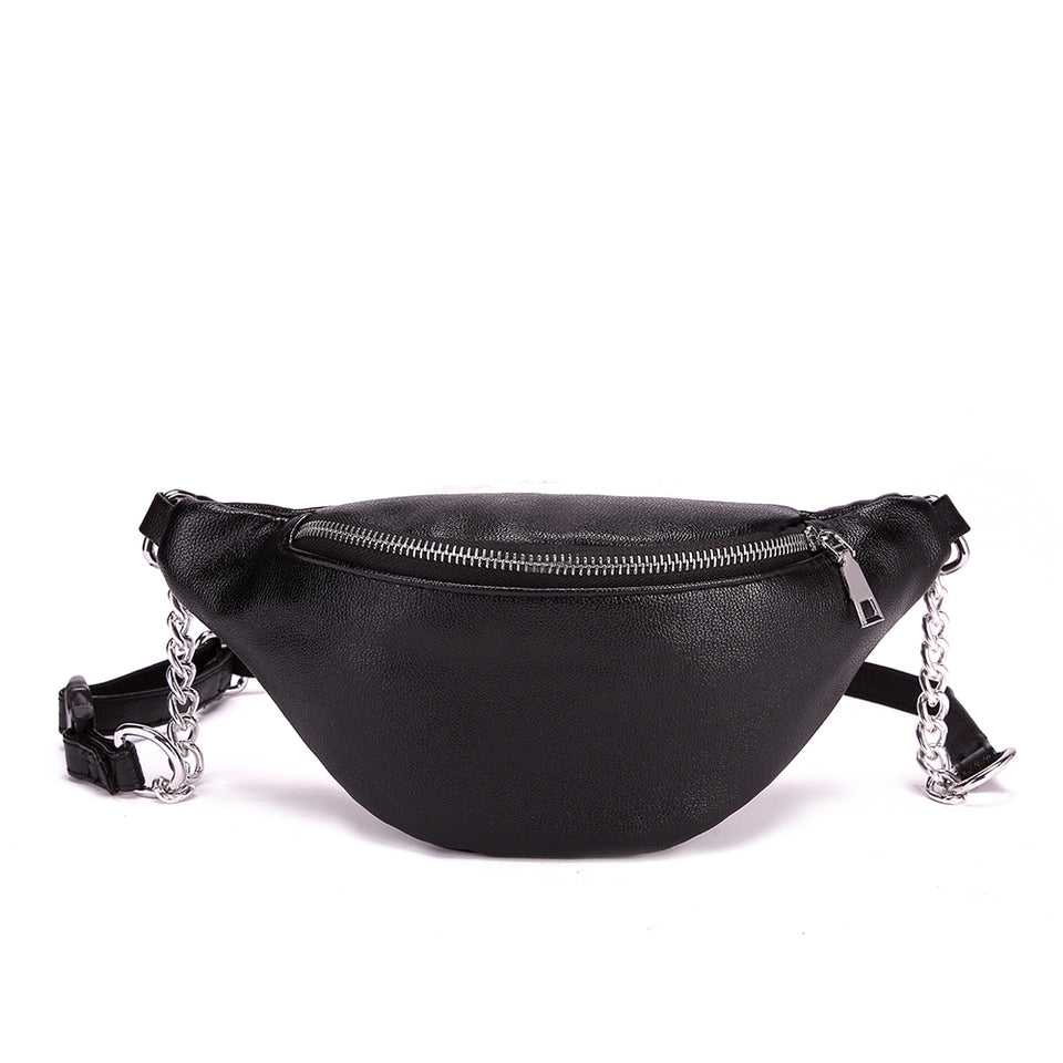 Faux leather belt bag in Black
