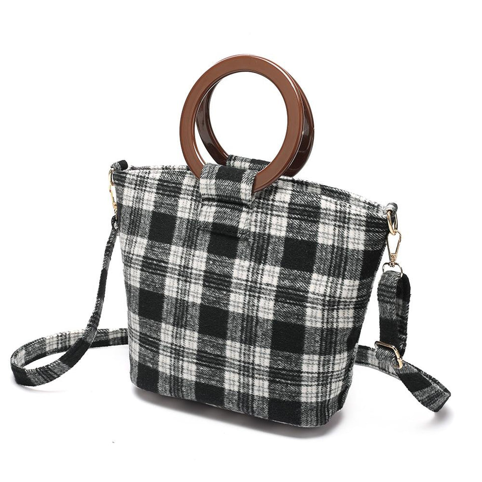 Wood arylic ring handle tartan tote in Black - 2-way carry