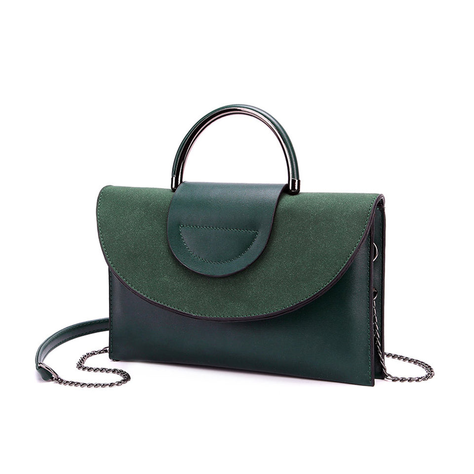 Layered flap faux leather crossbody clutch in Green