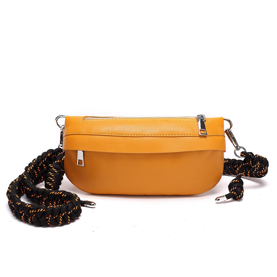 Plaited belt PU leather fanny pack in Yellow