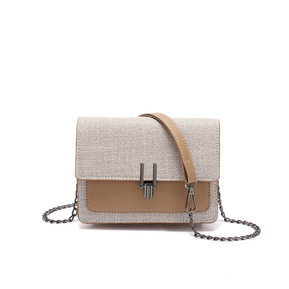 Turnlock linen crossbody bag in Khaki