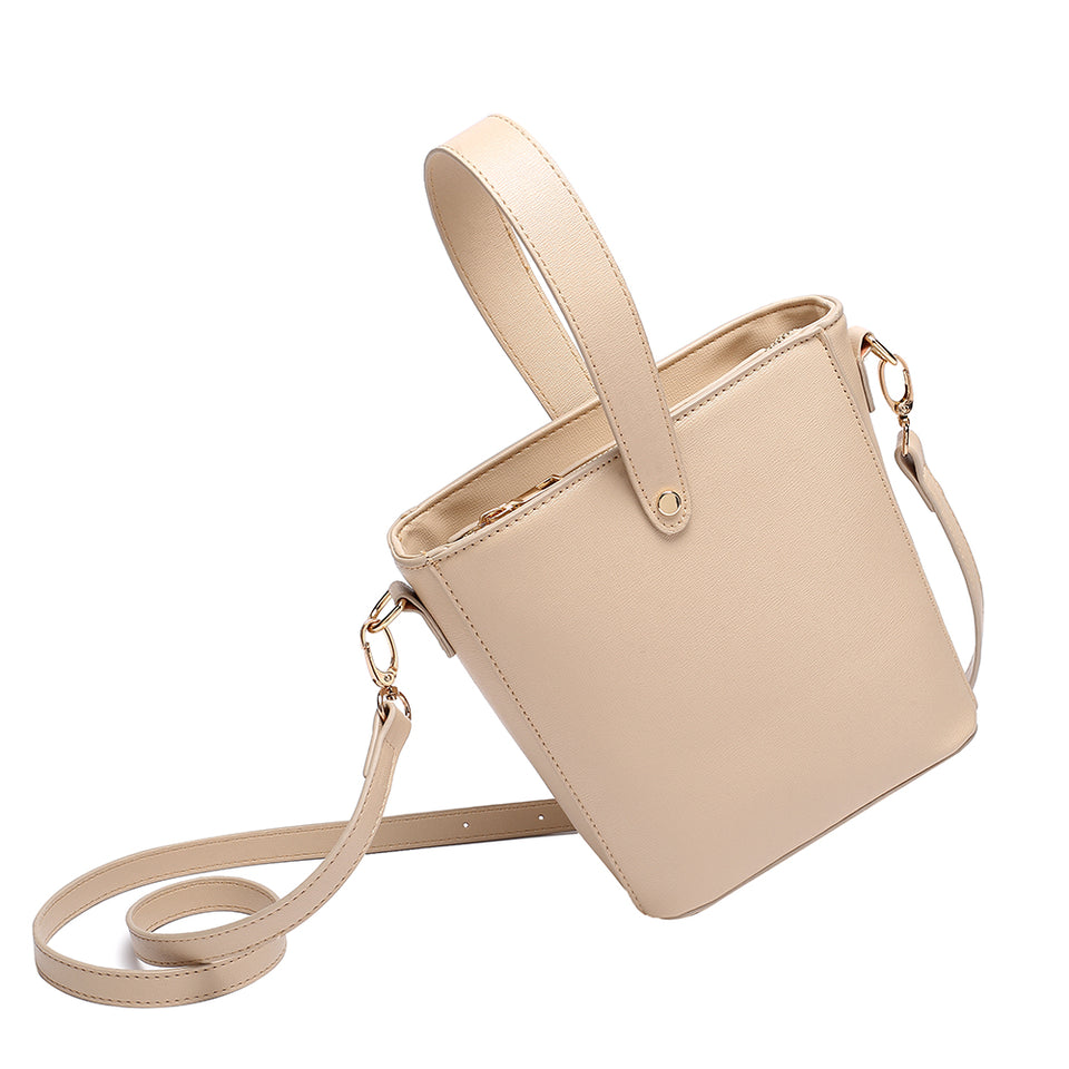 Inverted handle faux leather bucket crossbody bag in Beige