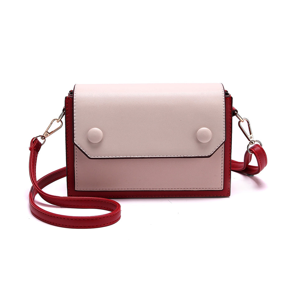 Colourblock boxy crossbody bag in Red