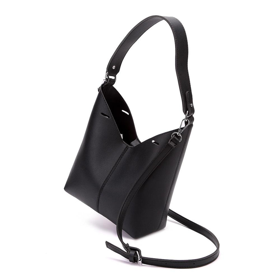 Cut-out sculptural faux leather 2-in-1 bag in Black