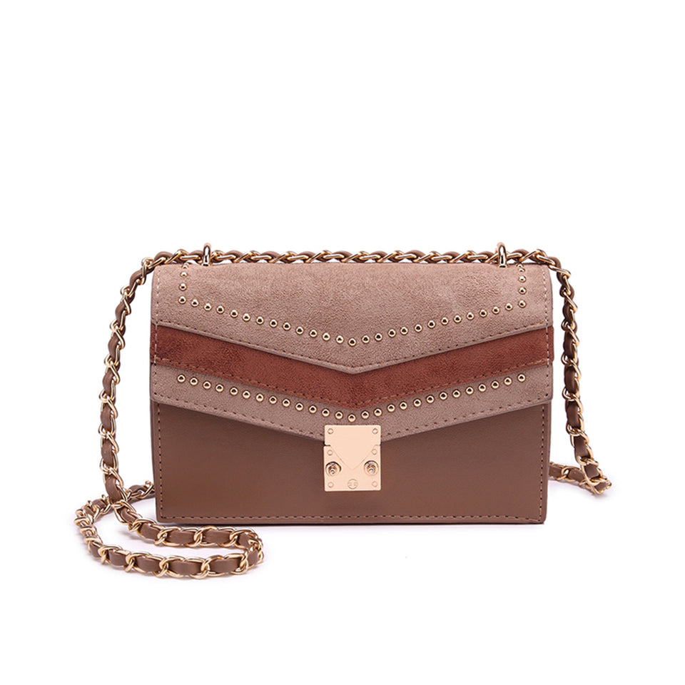 Studded colourblock faux suede crossbody bag in Brown