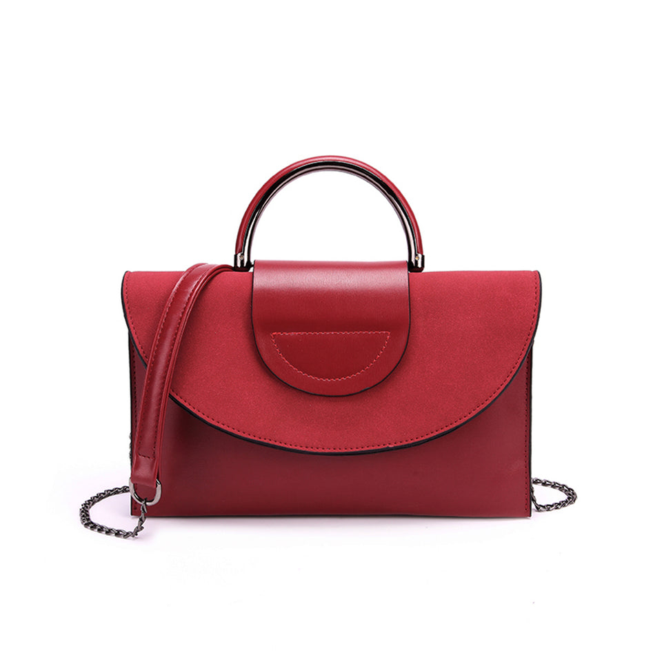 Layered flap faux leather crossbody clutch in Red