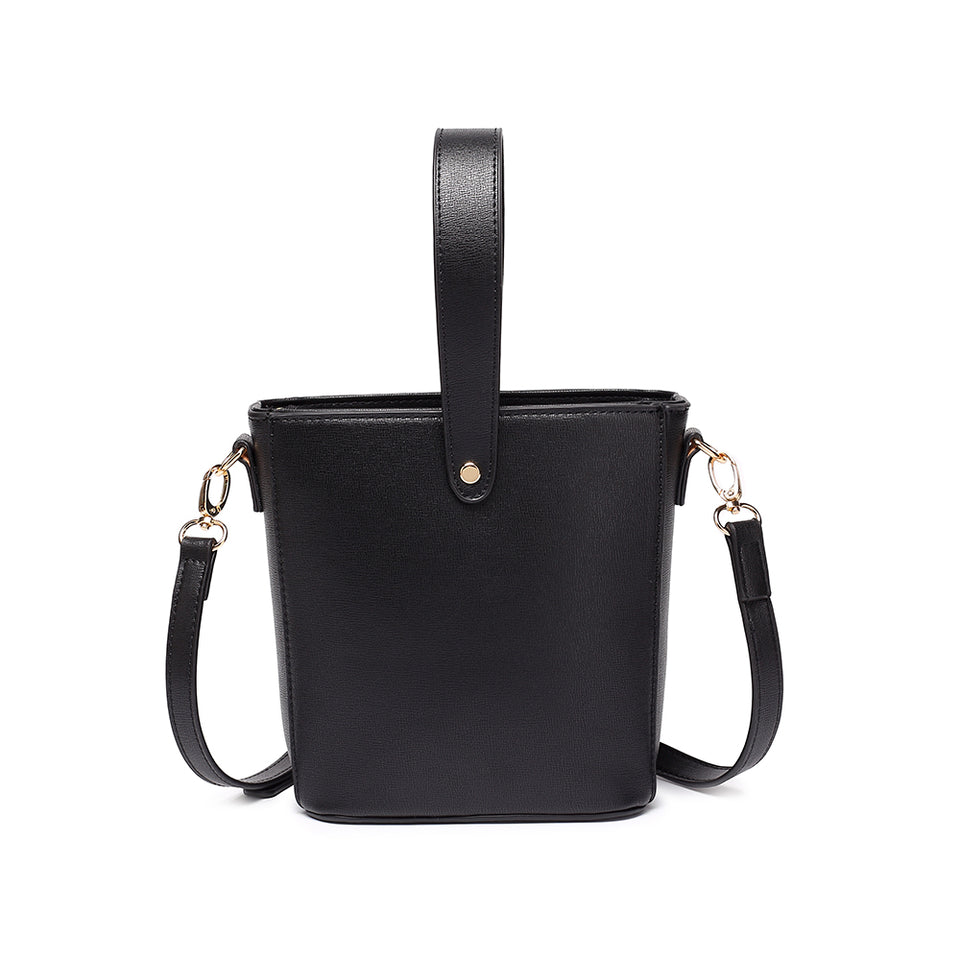 Inverted handle faux leather bucket crossbody bag in Black