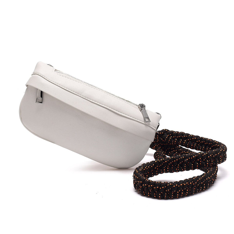 Plaited belt PU leather fanny pack in White