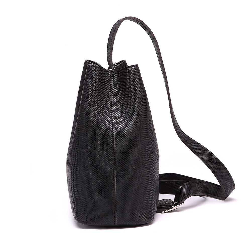 Cutout metal hardware faux leather bucket bag in Black