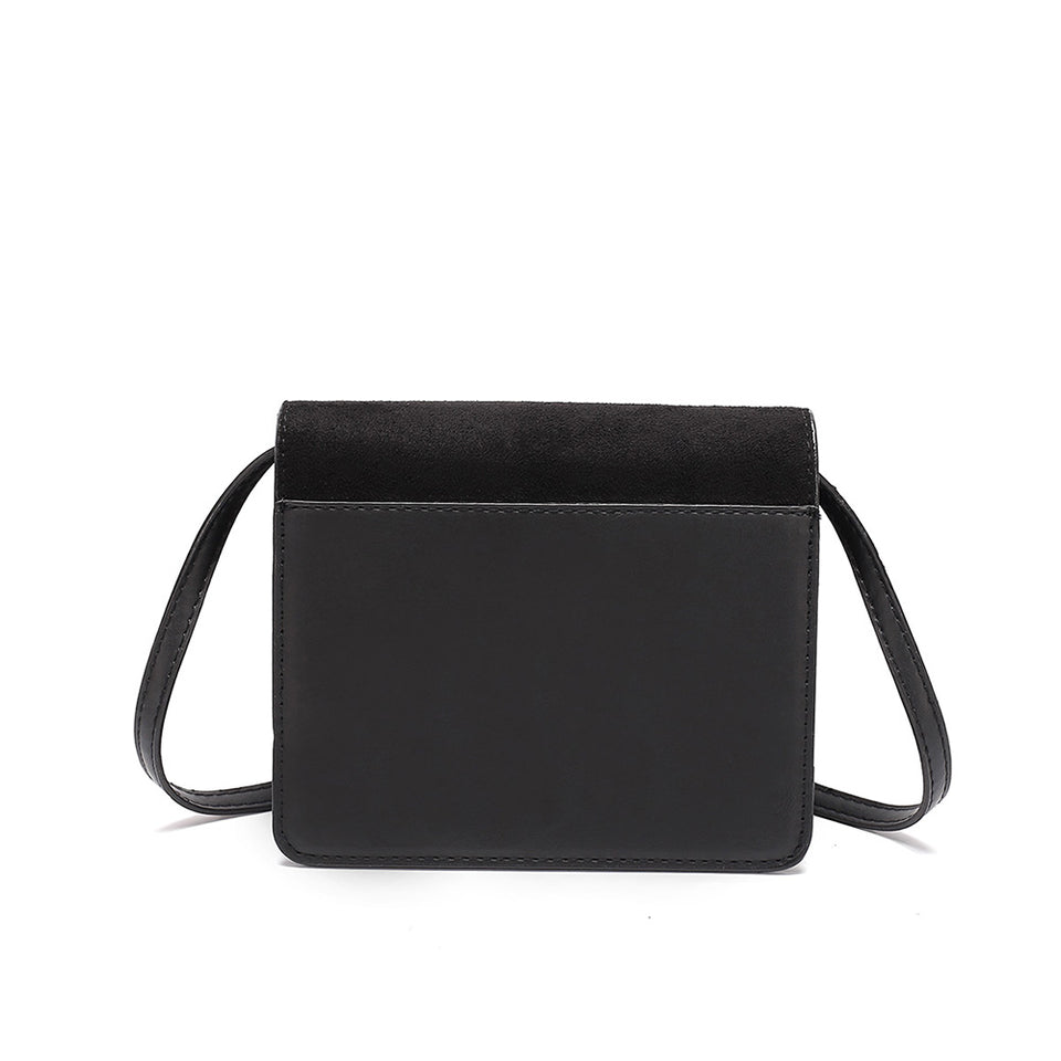 Colourblock faux suede leather crossbody bag in Black