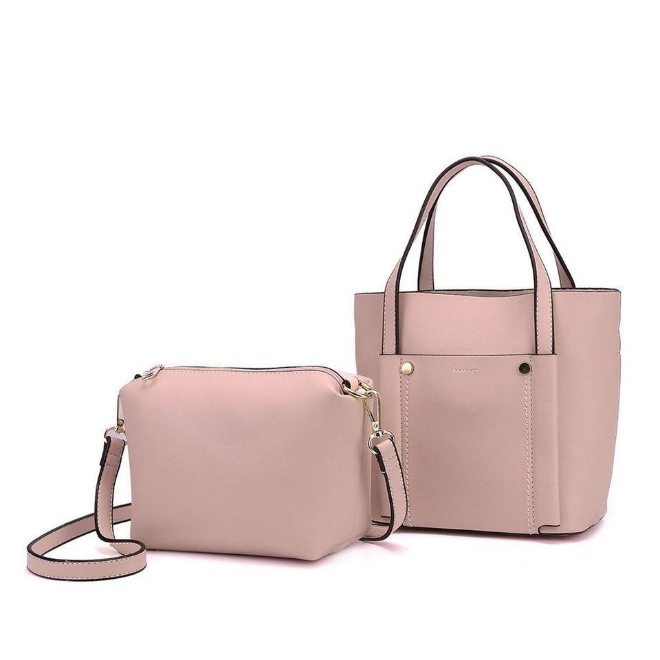 Studded topstitching faux leather 2-in-1 bag in Baby pink