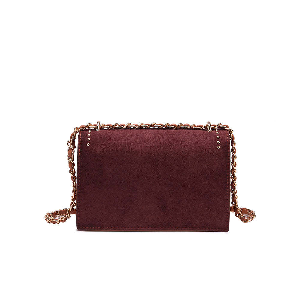 Studded colourblock faux suede crossbody bag in Red