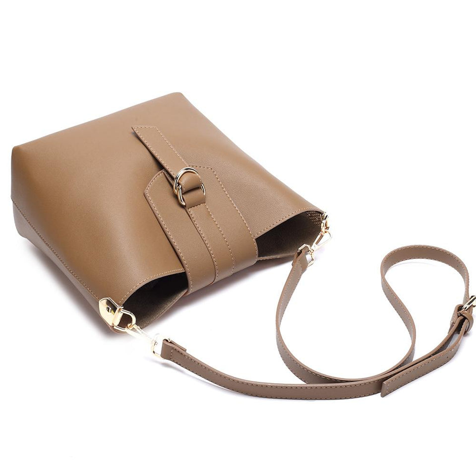 Belted flapover faux leather 2-in-1 bag in Tan