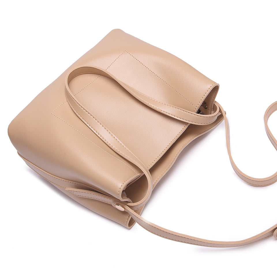 Sloughy faux leather crossbody bag in Beige