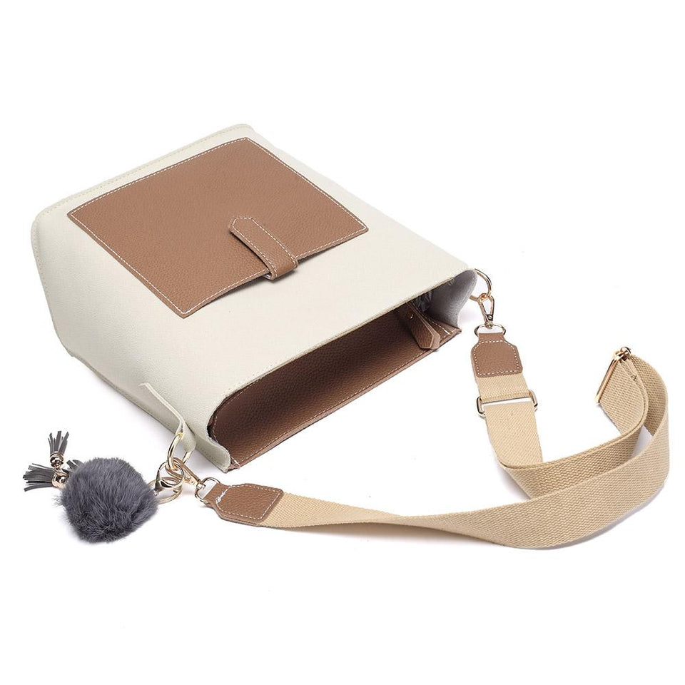 Pompom charm colourblock faux leather 2-in-1 bag in Beige
