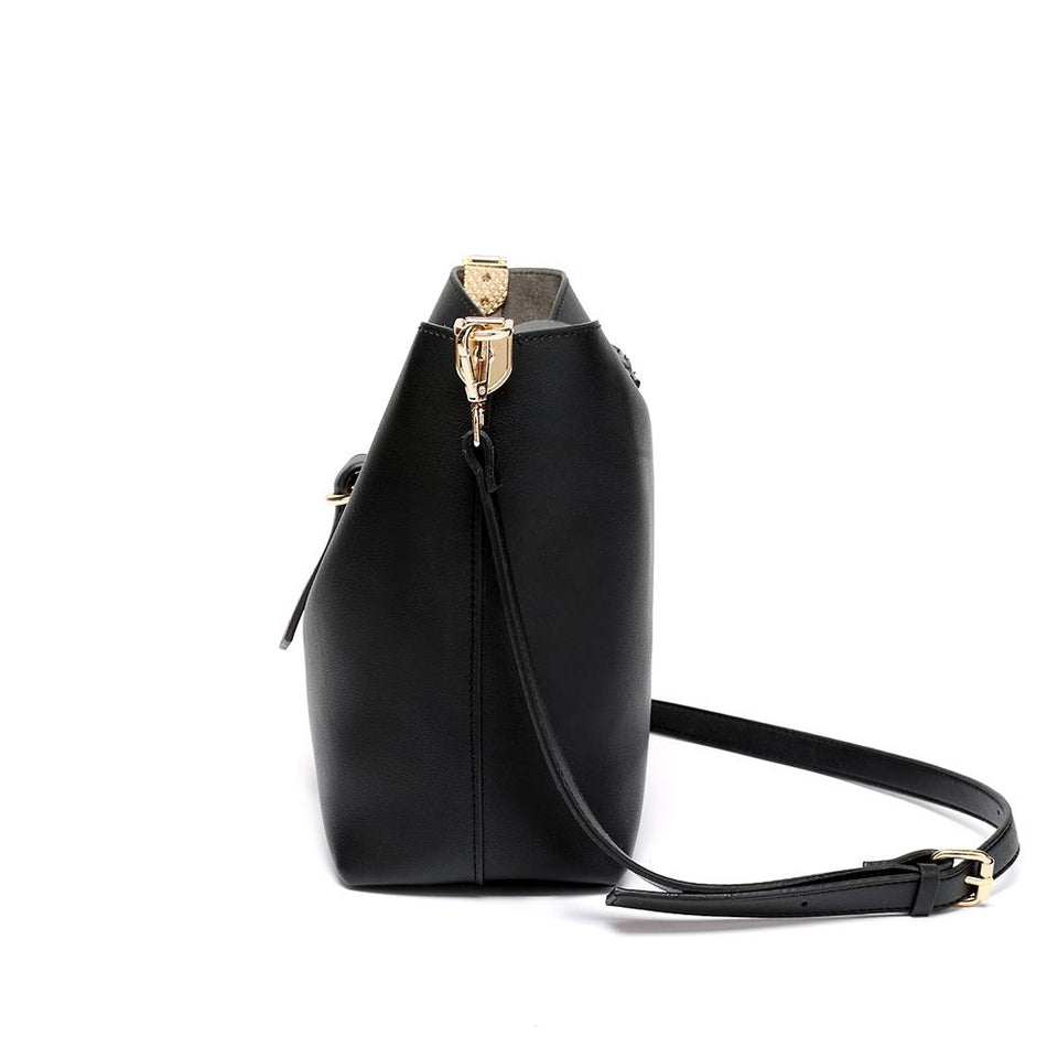 Belted flapover faux leather 2-in-1 bag in Black