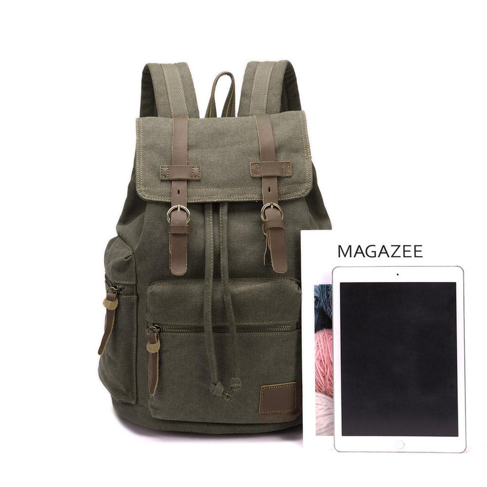 Canvas satchel backpack in Khaki