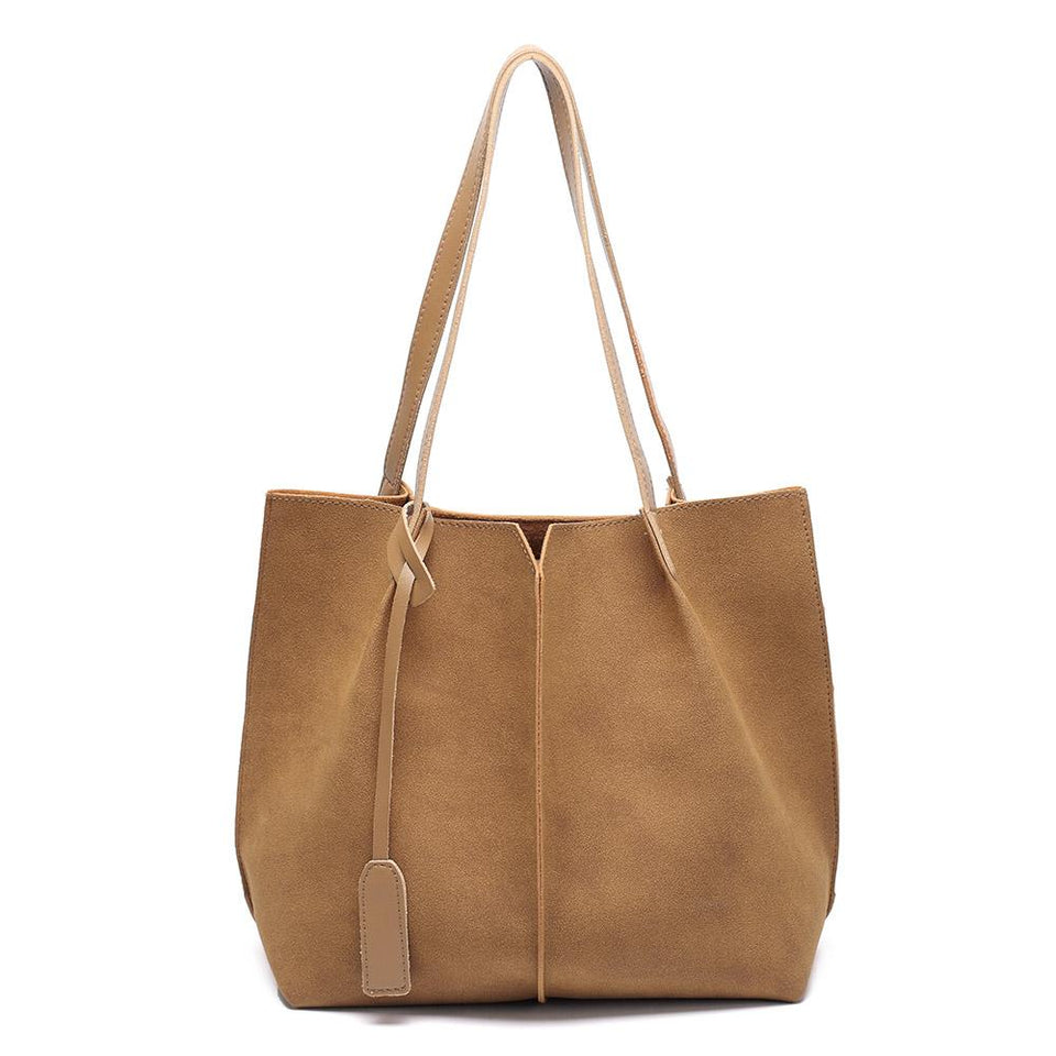 Centre stitch faux suede 2-in-1 bag in Brown