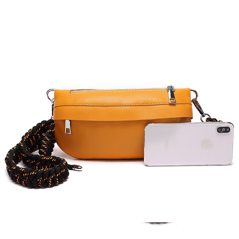 Plaited belt PU leather fanny pack in Red