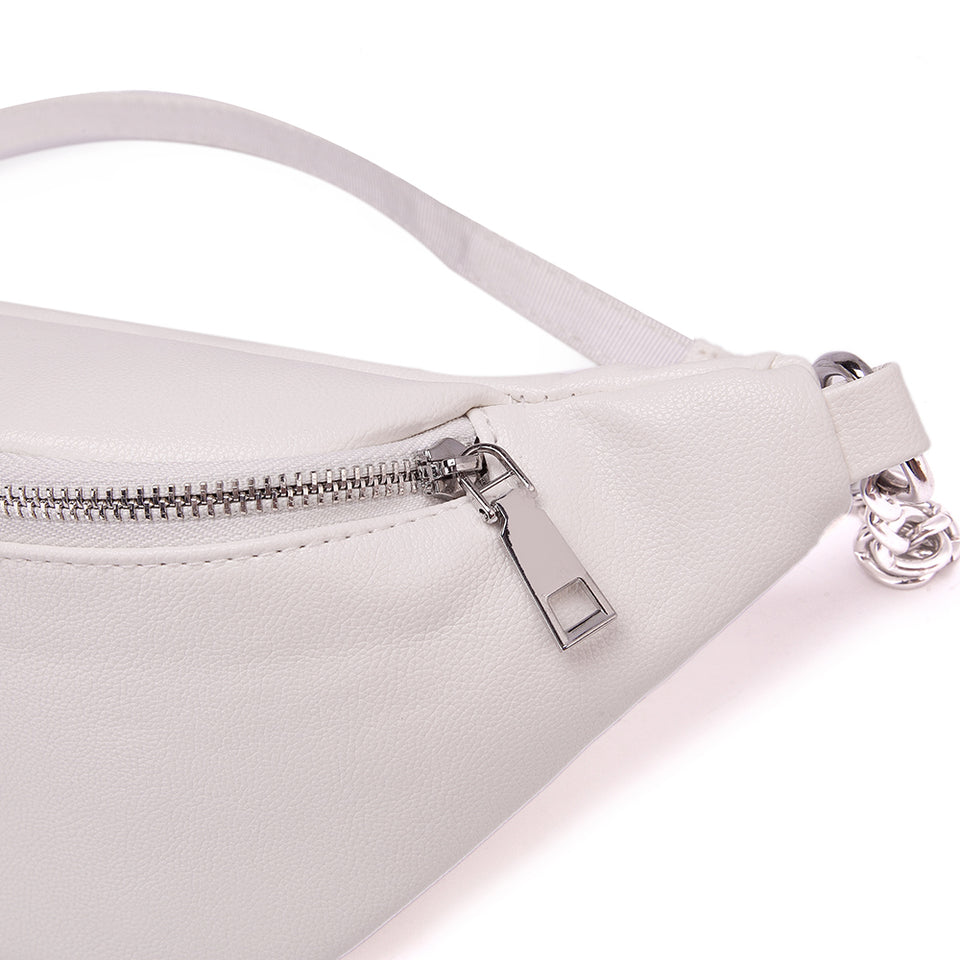 Faux leather belt bag in White