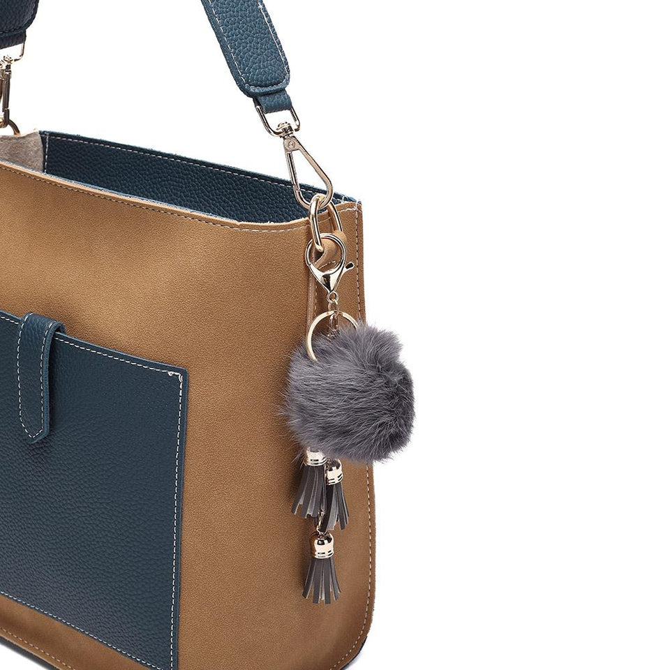 Pompom charm colourblock faux leather 2-in-1 bag in Tan