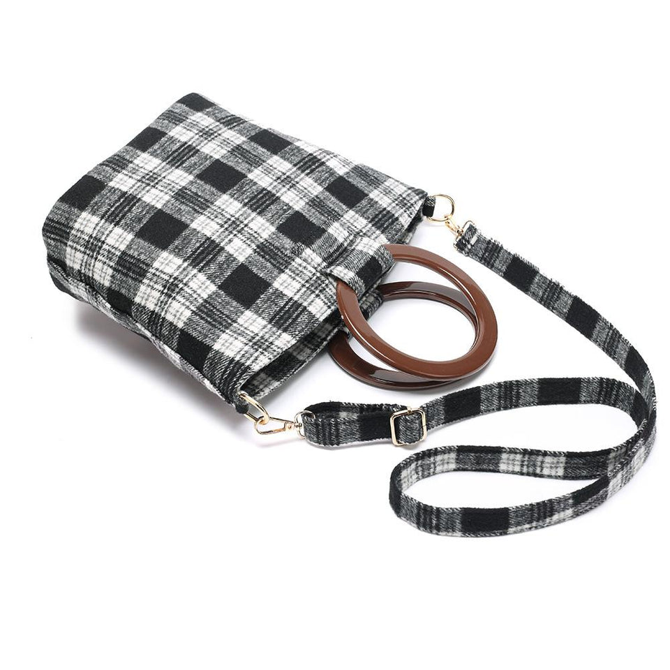Wood arylic ring handle tartan tote in Grey - 2-way carry