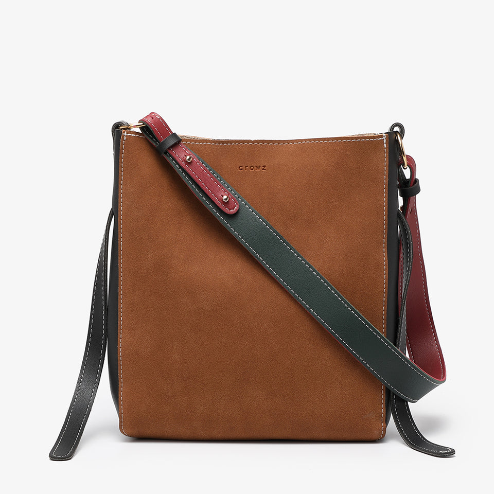 Colourblock sanded PU leather 2-in-1 crossbody bag in brown