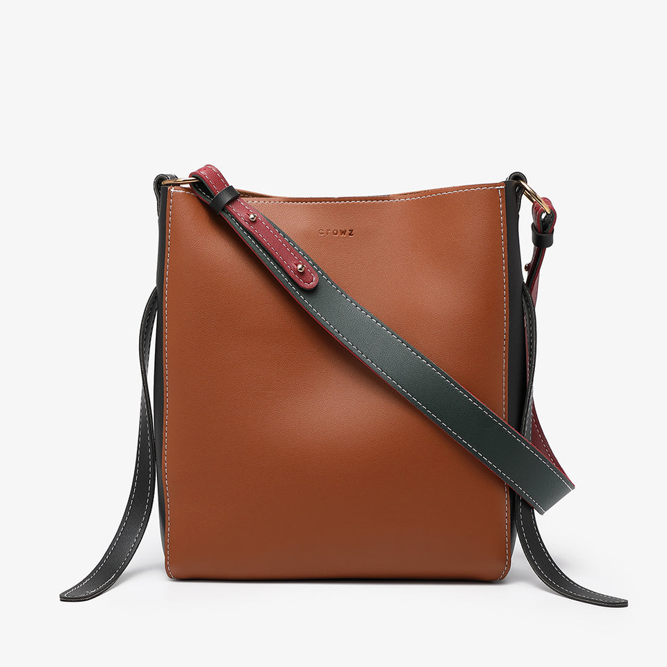 Colourblock PU leather 2-in-1 crossbody bag in brown