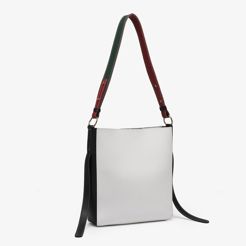 Colourblock PU leather 2-in-1 crossbody bag in white