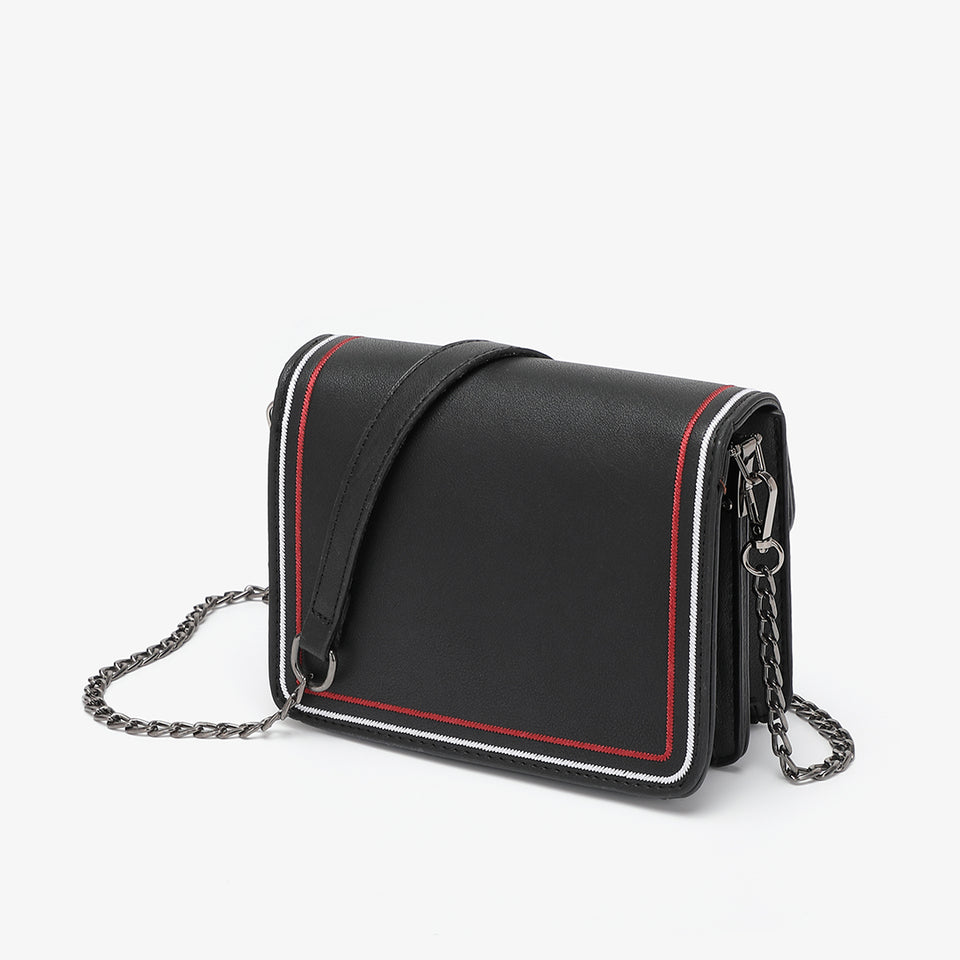 Contrast whipstitch PU leather crossbody bag in black