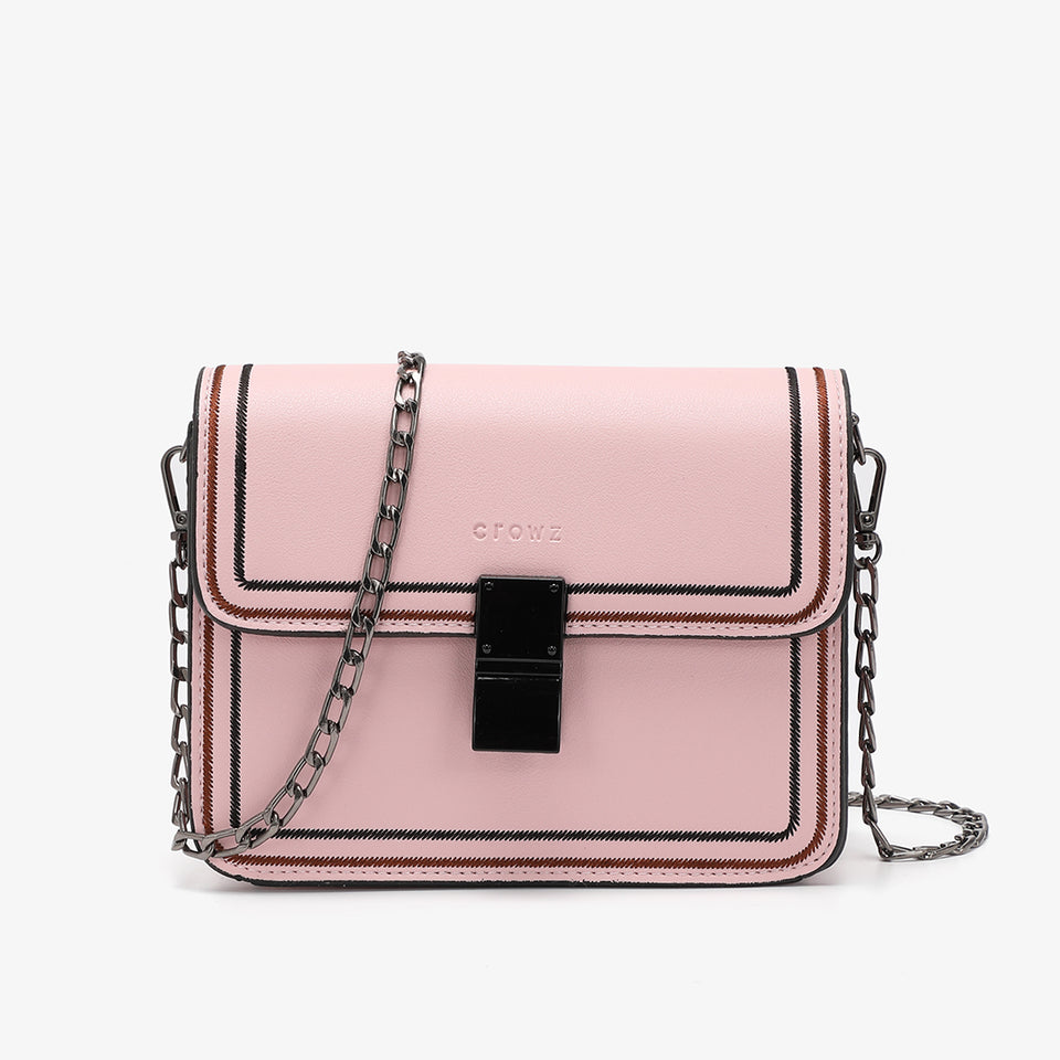 Contrast whipstitch PU leather crossbody bag in pink
