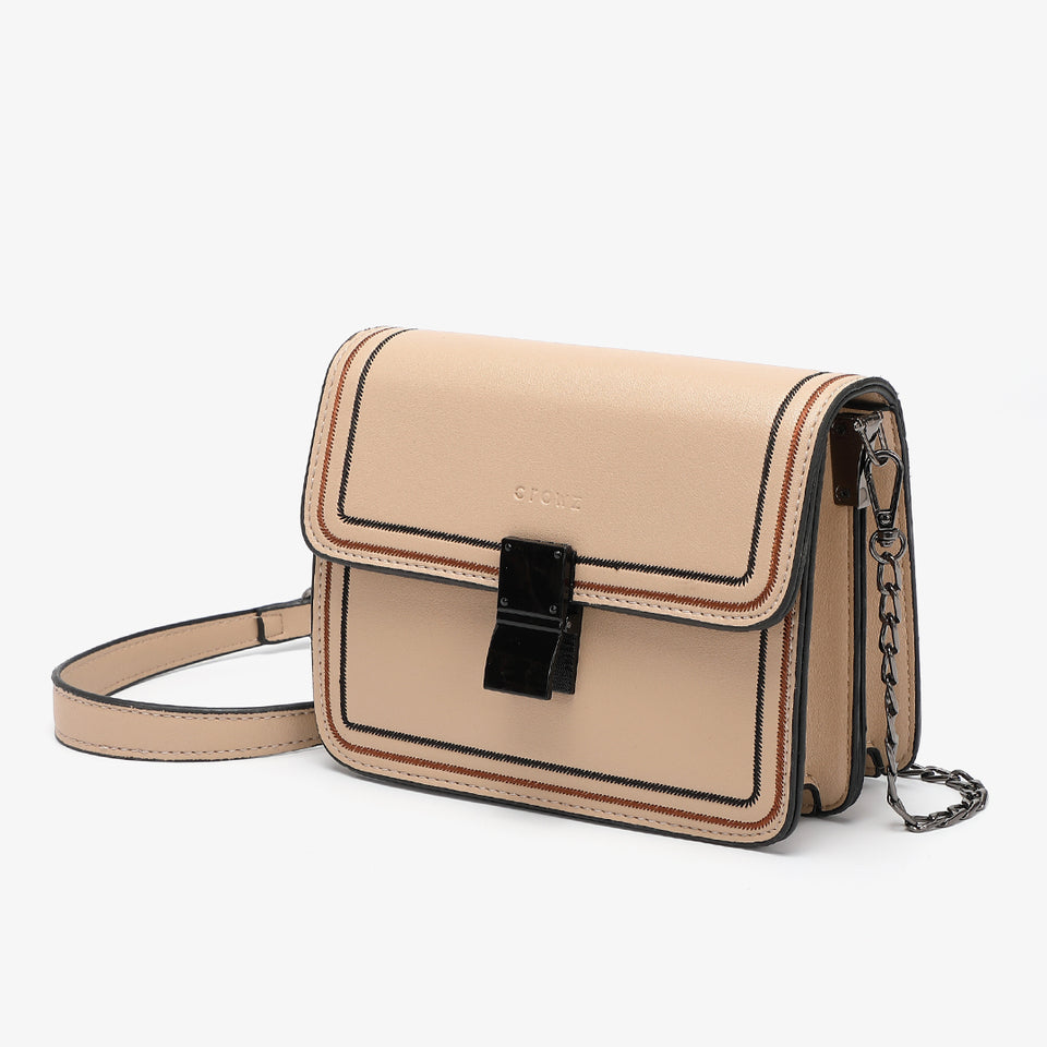 Contrast whipstitch PU leather crossbody bag in Khaki