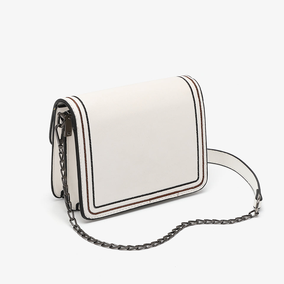 Contrast whipstitch PU leather crossbody bag in white