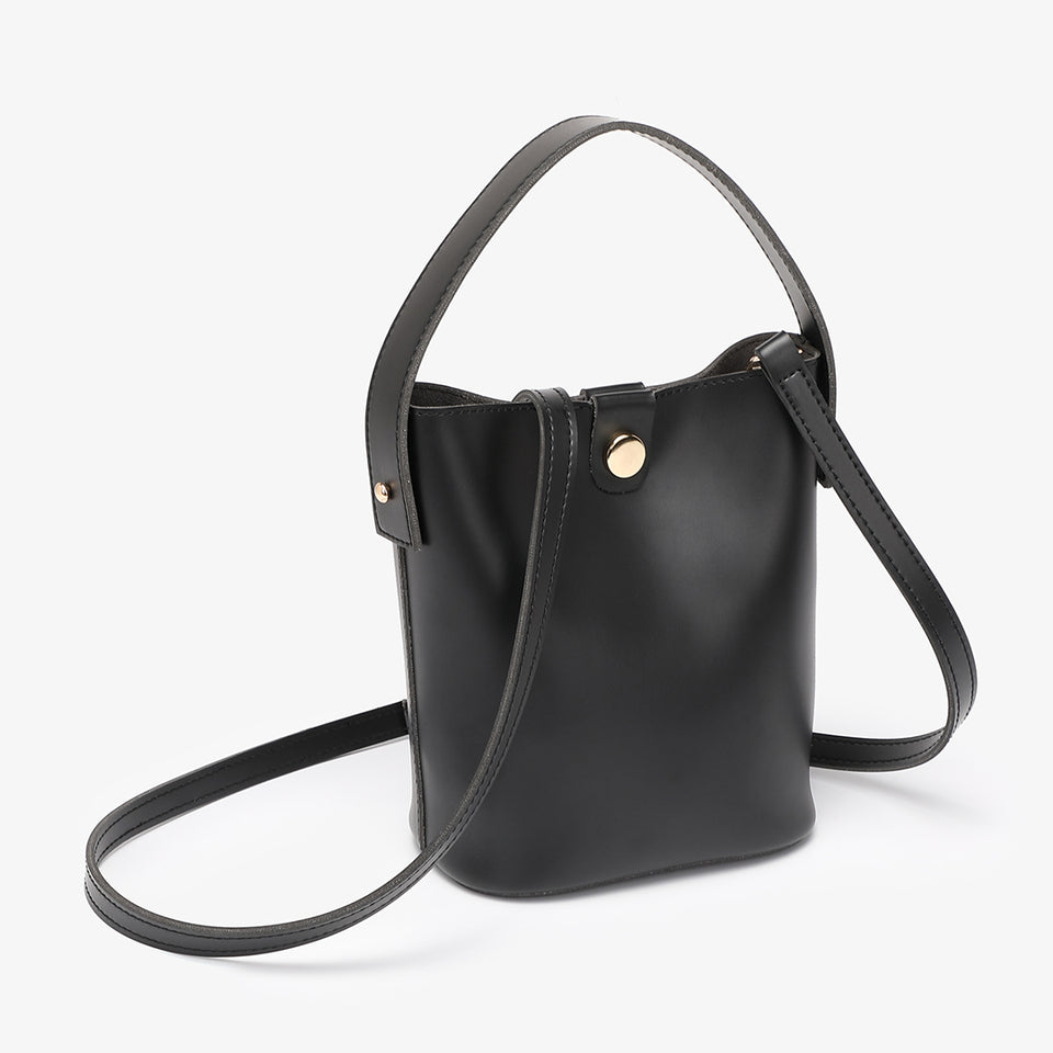 Studded PU leather 2-in-1 bucket bag in black