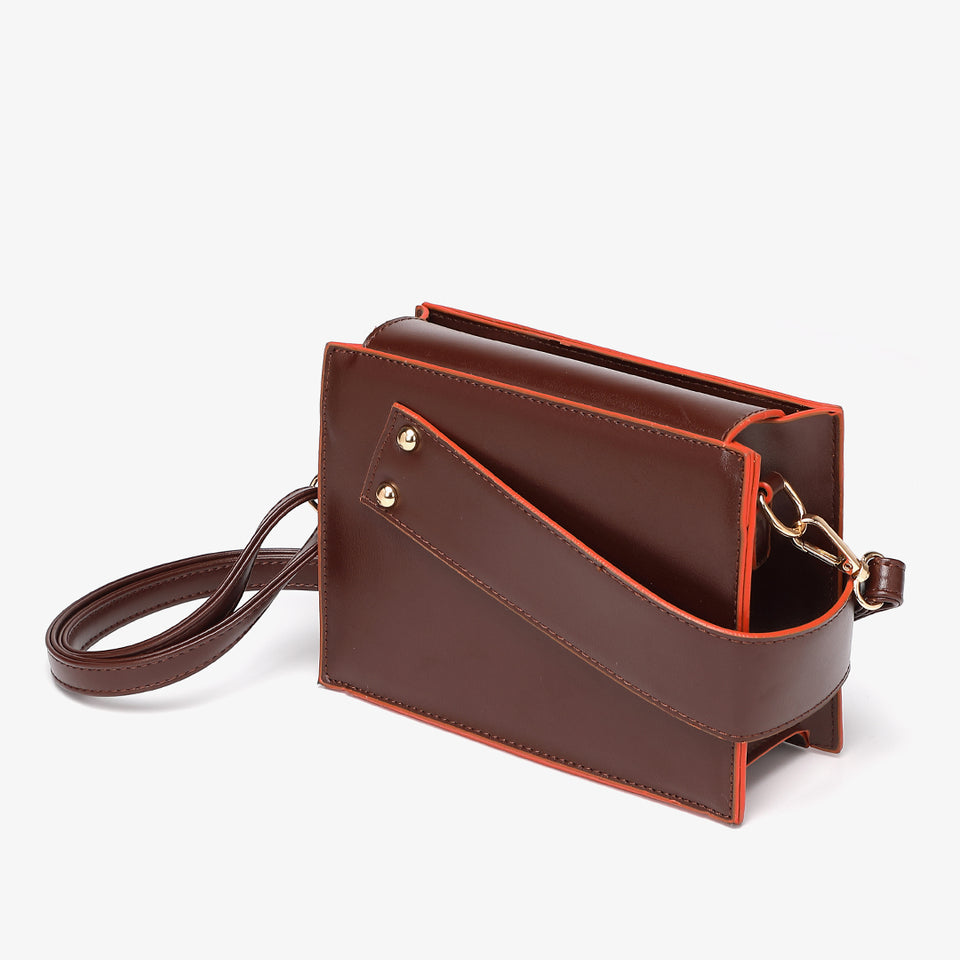 Colourblock handle boxy PU leather bag in burgundy