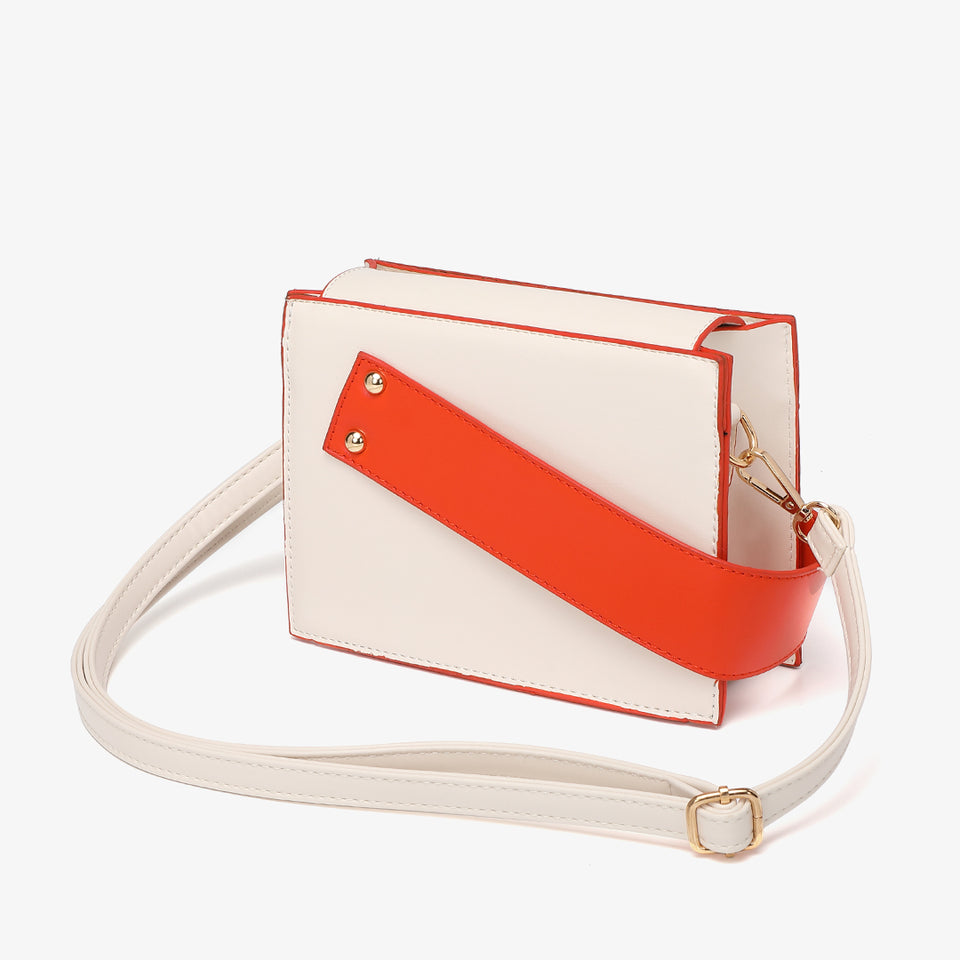 Colourblock handle boxy PU leather bag in white